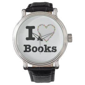 I Heart Books - I Love Books! Colorful Swirls Watch