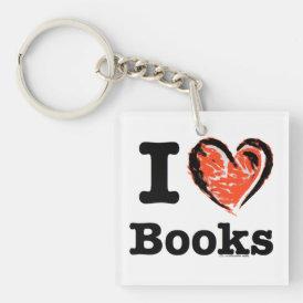 I Heart Books! I Love Books! (Crayon Heart) Keychain