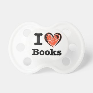 I Heart Books! I Love Books! (Crayon Heart) Baby Pacifiers