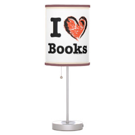 I Heart Books! I Love Books! (Crayon Heart) Table Lamp