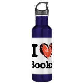 I Heart Books! I Love Books! (Crayon Heart) Water Bottle