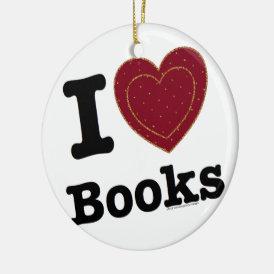 I Heart Books - I Love Books! (Double Heart) Ceramic Ornament
