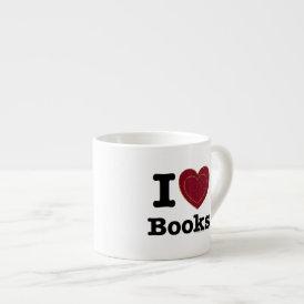 I Heart Books - I Love Books! (Double Heart) Espresso Cup