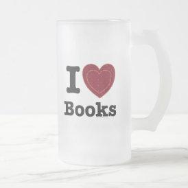 I Heart Books - I Love Books! (Double Heart) Frosted Glass Beer Mug
