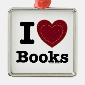 I Heart Books - I Love Books! (Double Heart) Metal Ornament