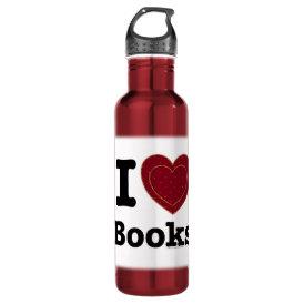 I Heart Books - I Love Books! (Double Heart) Stainless Steel Water Bottle