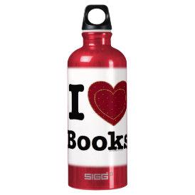 I Heart Books - I Love Books! (Double Heart) Water Bottle
