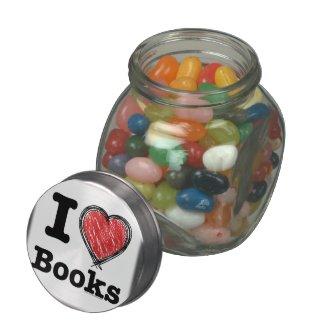 I Heart Books! I Love Books! (Scribbled Lines) Glass Jars