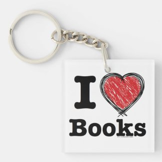 I Heart Books! I Love Books! (Scribbled Lines) Square Acrylic Keychain