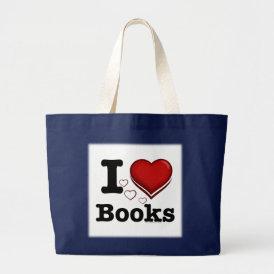 I Heart Books! I Love Books! (Shadowed Heart) Large Tote Bag