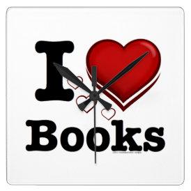 I Heart Books! I Love Books! (Shadowed Heart) Square Wall Clock