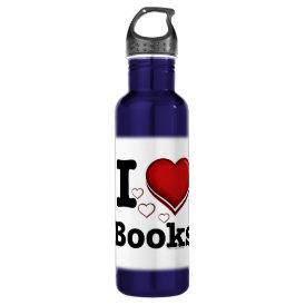 I Heart Books! I Love Books! (Shadowed Heart) Stainless Steel Water Bottle