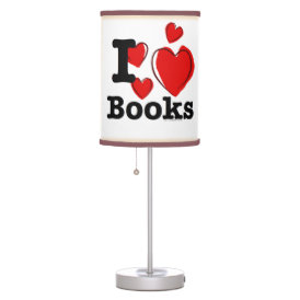 I Heart Books! I Love Books! (Sketchy Heart) Desk Lamp