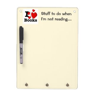 I Heart Books! I Love Books! (Sketchy Heart) Dry-Erase Whiteboards