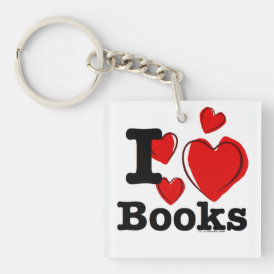 I Heart Books! I Love Books! (Sketchy Heart) Keychain