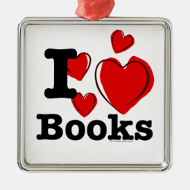 I Heart Books! I Love Books! (Sketchy Heart) Metal Ornament