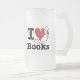 I Heart Books I Love Books! Swirly Curlique Heart Frosted Glass Beer Mug