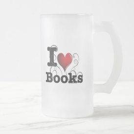 I Heart Books I Love Books! Swirly Curlique Heart Frosted Glass Beer Mug