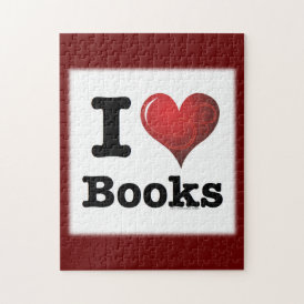 I Heart Books I Love Books! Swirly Curlique Heart Jigsaw Puzzle