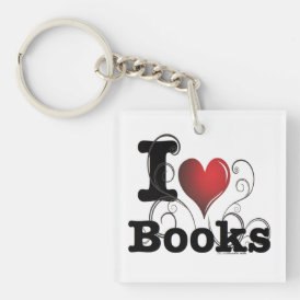 I Heart Books I Love Books! Swirly Curlique Heart Keychain