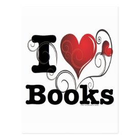 I Heart Books I Love Books! Swirly Curlique Heart Postcard