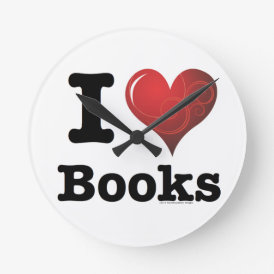 I Heart Books I Love Books! Swirly Curlique Heart Round Clock