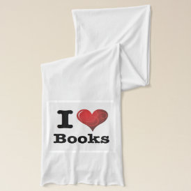 I Heart Books I Love Books! Swirly Curlique Heart Scarf