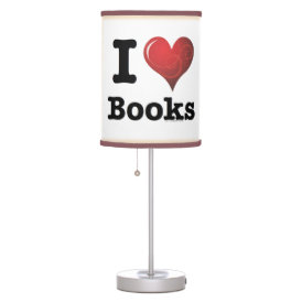 I Heart Books I Love Books! Swirly Curlique Heart Table Lamp