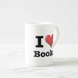 I Heart Books I Love Books! Swirly Curlique Heart Tea Cup