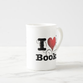I Heart Books I Love Books! Swirly Curlique Heart Tea Cup