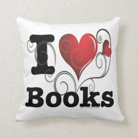 I Heart Books I Love Books! Swirly Curlique Heart Throw Pillow