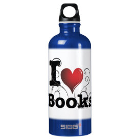 I Heart Books I Love Books! Swirly Curlique Heart Water Bottle