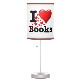 I Heart Books! I Love Books! (Trail of Hearts) Table Lamp