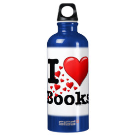I Heart Books! I Love Books! (Trail of Hearts) Water Bottle