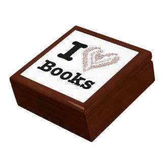I Heart Books - I Love Books! (Word Heart) Trinket Boxes
