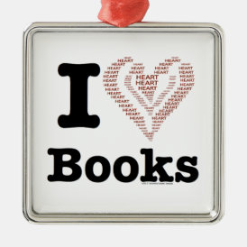 I Heart Books - I Love Books! (Word Heart) Metal Ornament