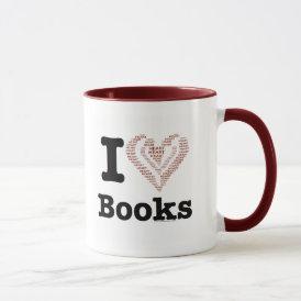 I Heart Books - I Love Books! (Word Heart) Mug