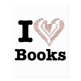 I Heart Books - I Love Books! (Word Heart) Postcard