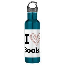 I Heart Books - I Love Books! (Word Heart) Water Bottle