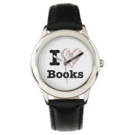 I Heart Books - I Love Books! (Word Heart) Wristwatch