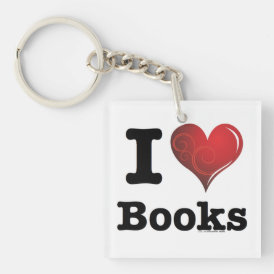 I heart books Swirly Curlique Heart 02 FADE 4000x4 Keychain