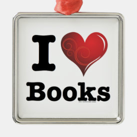 I heart books Swirly Curlique Heart 02 FADE 4000x4 Metal Ornament