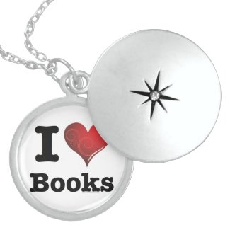 I heart books Swirly Curlique Heart #2 Pendant
