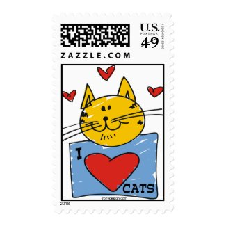 I Heart Cats Stamp
