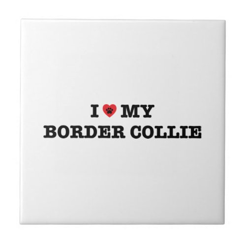 I Heart My Border Collie Tile