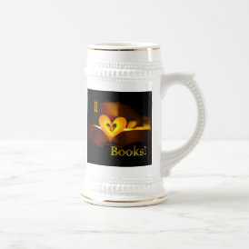 I Love Books - I 'Heart' Books (Candlelight) Beer Stein
