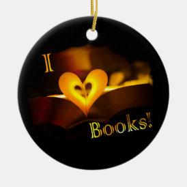 I Love Books - I 'Heart' Books (Candlelight) Ceramic Ornament