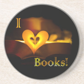 I Love Books - I 'Heart' Books (Candlelight) Coaster