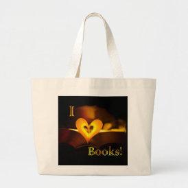I Love Books - I 'Heart' Books (Candlelight) Large Tote Bag
