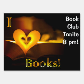 I Love Books - I 'Heart' Books (Candlelight) Lawn Sign